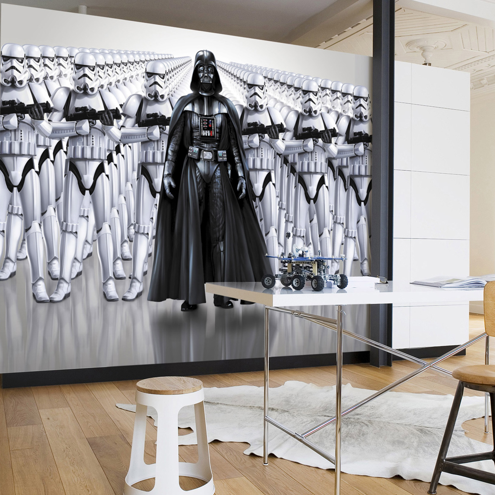neuf papier peint dark vador stormtroopers star wars ebay. Black Bedroom Furniture Sets. Home Design Ideas