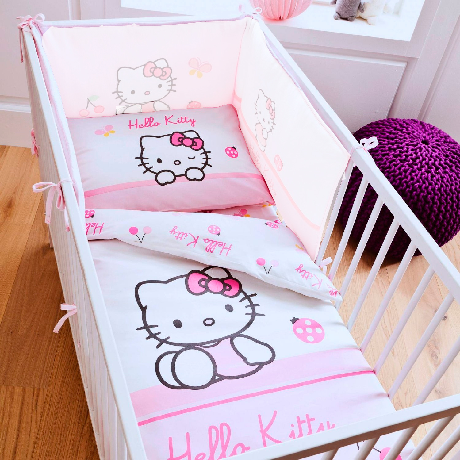 neuf parure de lit b b hello kitty coccinelle ebay. Black Bedroom Furniture Sets. Home Design Ideas