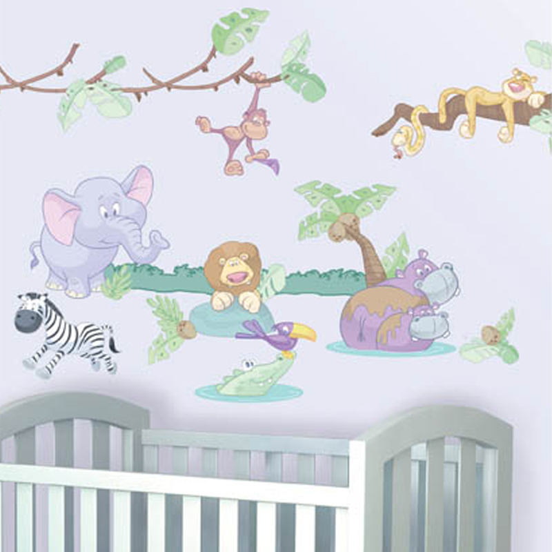 stickers chambre bebe garcon jungle. Black Bedroom Furniture Sets. Home Design Ideas