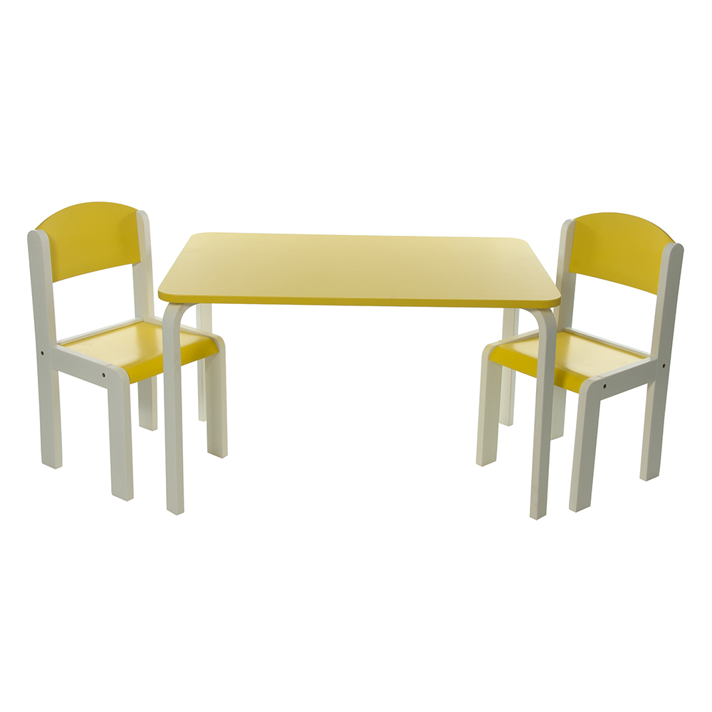 neuf ensemble table et chaises enfant jaune en bois fabio xl momo for kids ebay. Black Bedroom Furniture Sets. Home Design Ideas