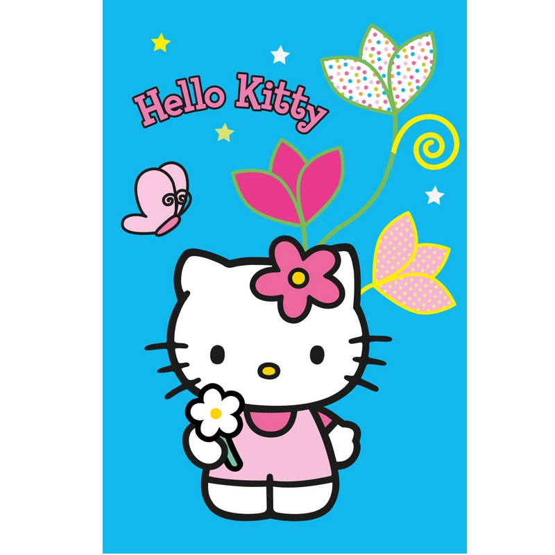 Hello Kitty Flower Blue Rug Ebay